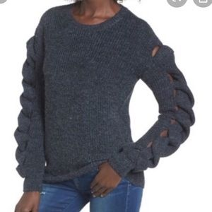 LEITH BRAIDED SLEEVE SWEATER CHARCOAL XS NEW